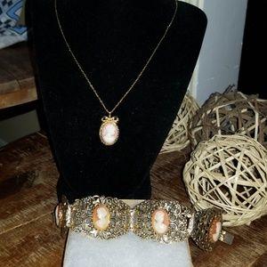 Jewelry - Cameo Necklace & Bracelet Set
